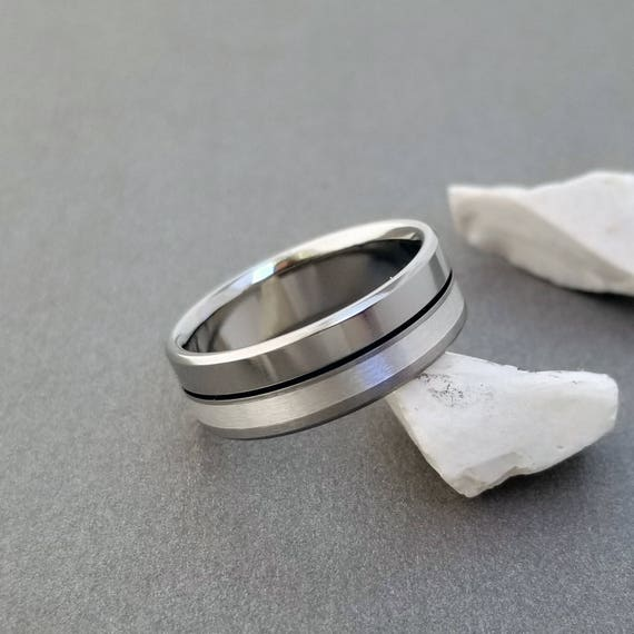 Perfect Jewelry Gift Titanium Sterling Silver Inlay Flat 8mm Brushed and Polished Band