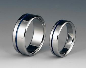 Titanium Ring Set - Wedding - Promise - Off Centered Blue Pinstripe