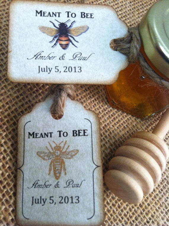 1 Qty Mini Honey Favor Meant To Bee Wedding Shower Favors With Dipper &  Personalized Tag