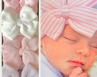 Baby Girl Newborn Hat with Bow - Newborn Baby Girl Hat - Baby Hat - Hospital Baby Hat - Hospital Bow Hat - Hospital Cap - Baby Beanie
