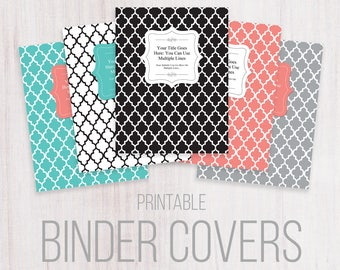Printable Binder Covers, Letter Size, Editable Text. Quatrefoil style, Black, Teal, Gray, White, Coral, Instant Download, Organizer, Planner