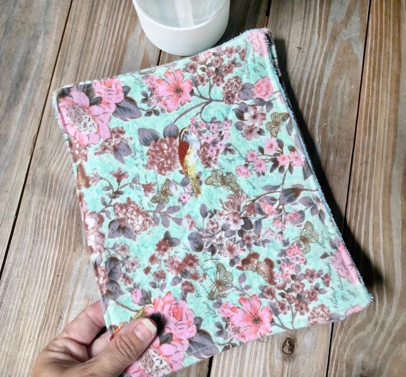 Unpaper Towels Reusable Cloth birds  flowers Flannel Set of 4 image 0