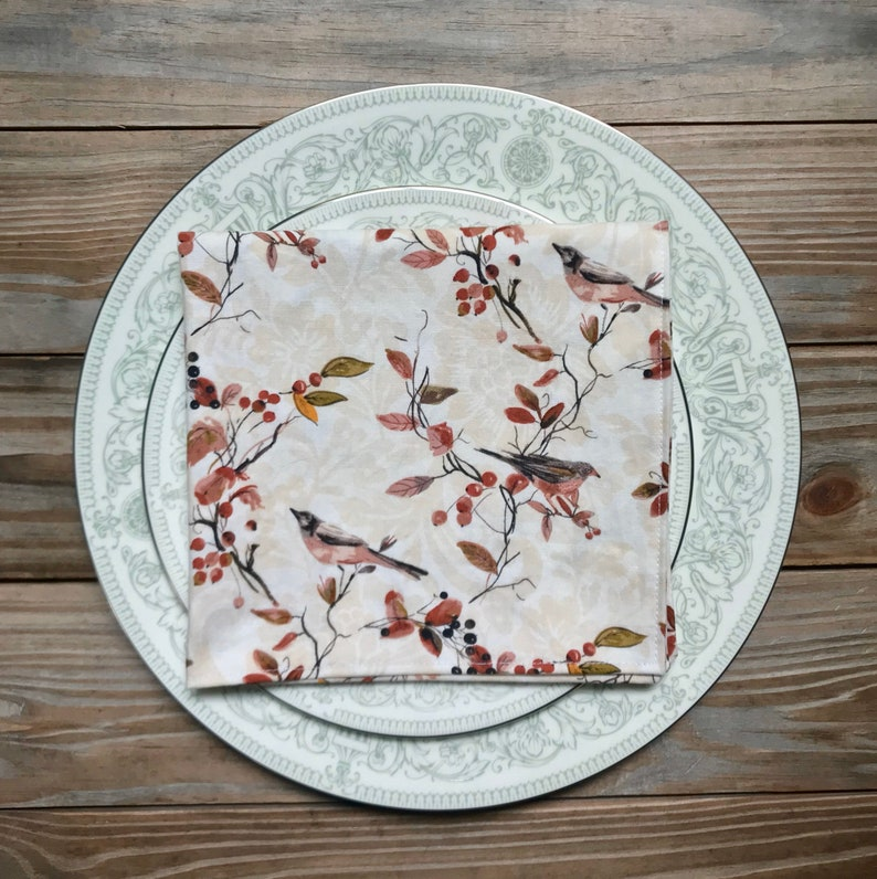 Napkins Lunch Dinner Autumn birds print  set of 4 image 0