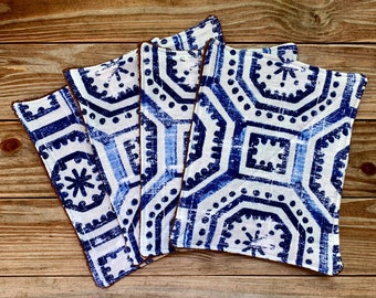 Paperless Towels Reusable Flannel blue Baby Wipes small Set of 4