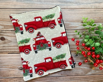 Red vintage holiday truck Reusable Cloth Flannel Set of 4
