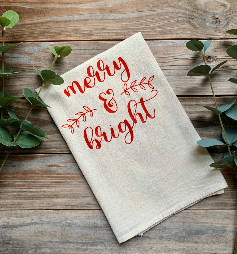 Tea Towel Merry And Bright Flour Sack Natural Feed Sack image 0