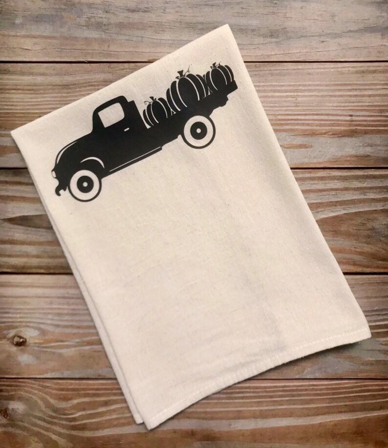 Tea Towel Flour Sack Pumpkins Truck Fall Kitchen Towel image 0