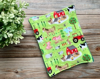 Cleaning Cloths Towels Reusable Paperless Flannel Farm animals Set of 4