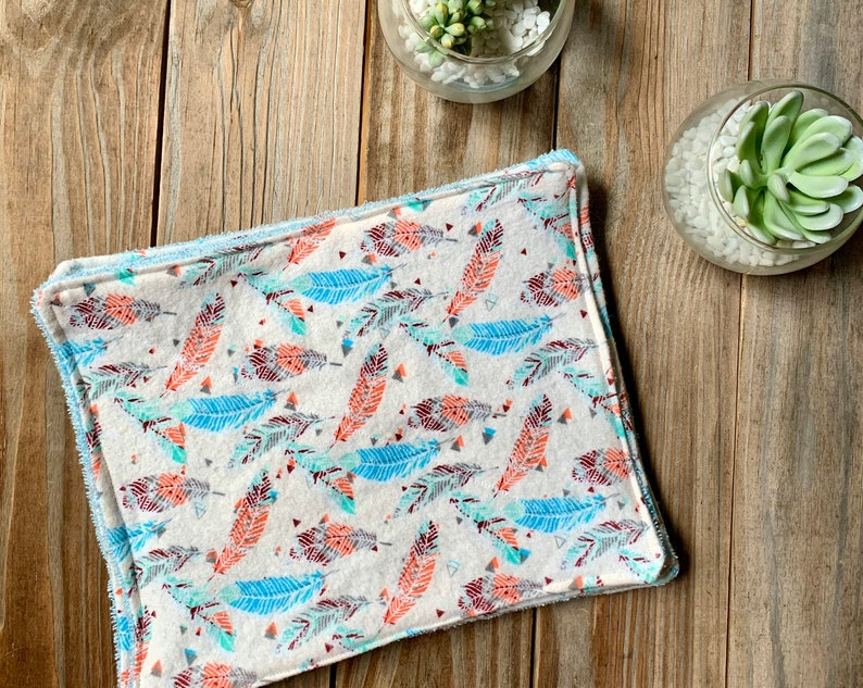 Unpaper Towels Feathers Boho Reusable Paperless Wipes Set of 4 image 0