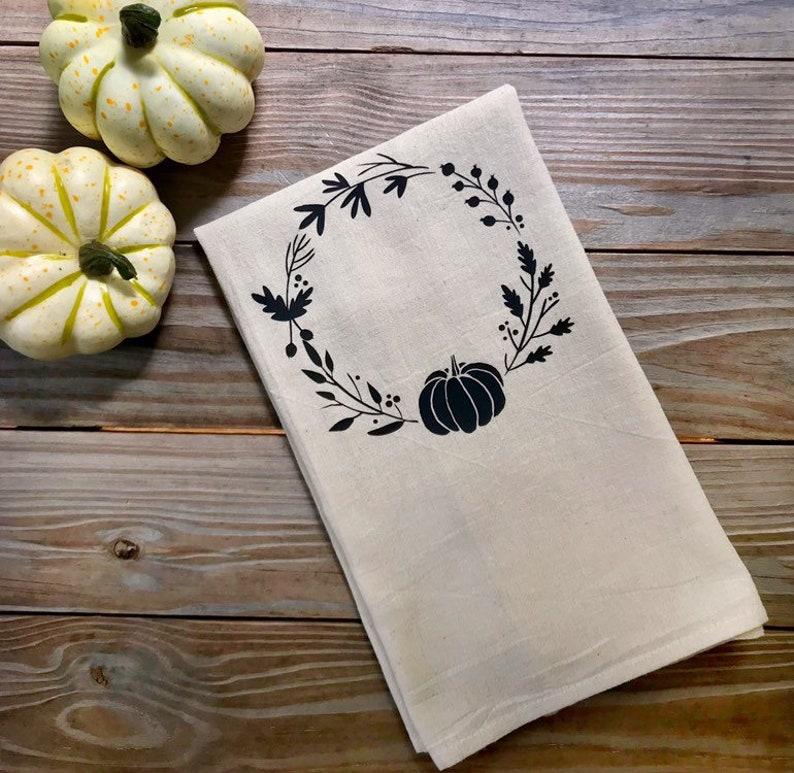 Tea Towel Flour Sack Pumpkin wreath Fall Feed Sack Kitchen image 0