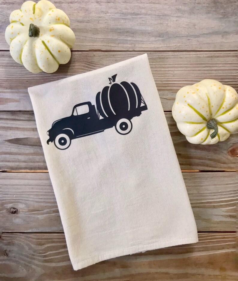 Tea Towel Flour Sack Natural Pumpkin Truck Fall Kitchen Towel image 0