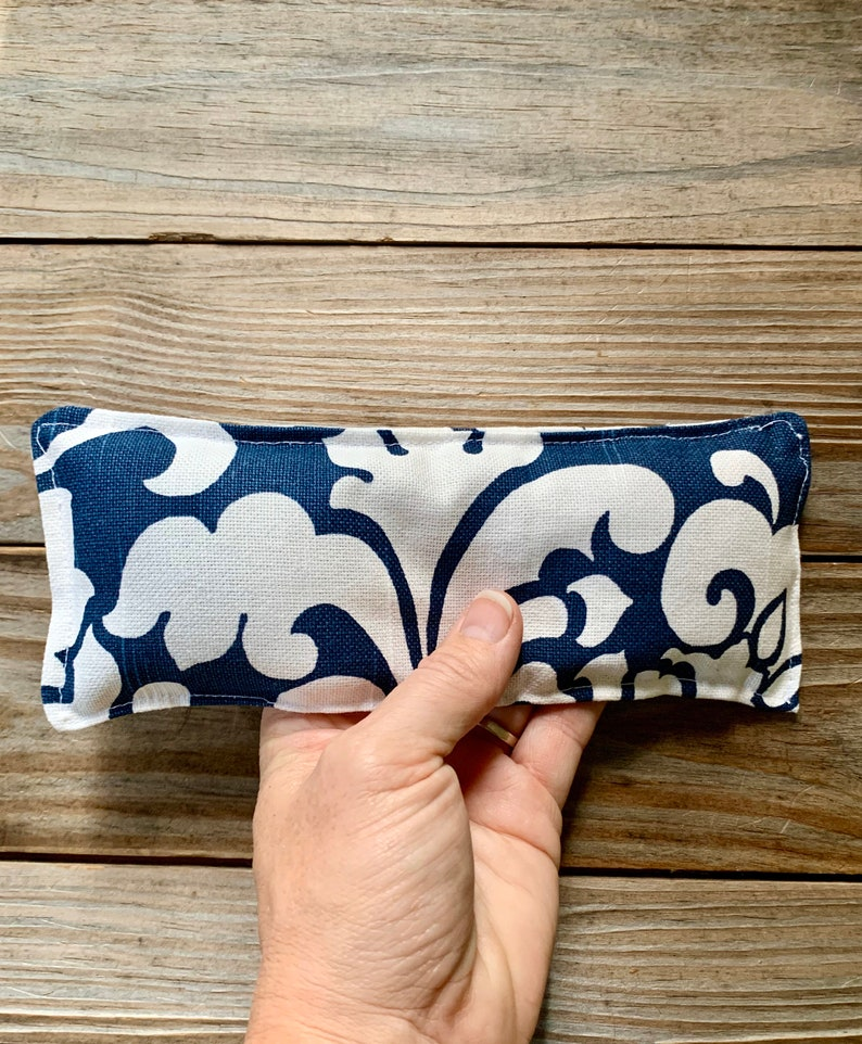 Therapy Pack Flaxseed filled  Natural hot cold eye pillow navy image 0