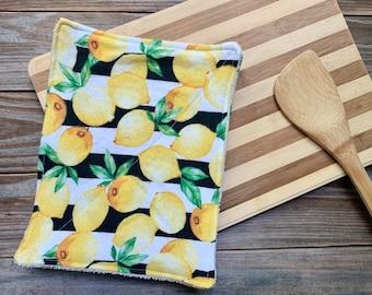 Wipes Non Paper Towels Reusable Cloth Flannel lemon yellow Set of 4