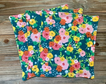 Floral Paperless Towels Flannel and Terry Cloth Set of 6 or 10
