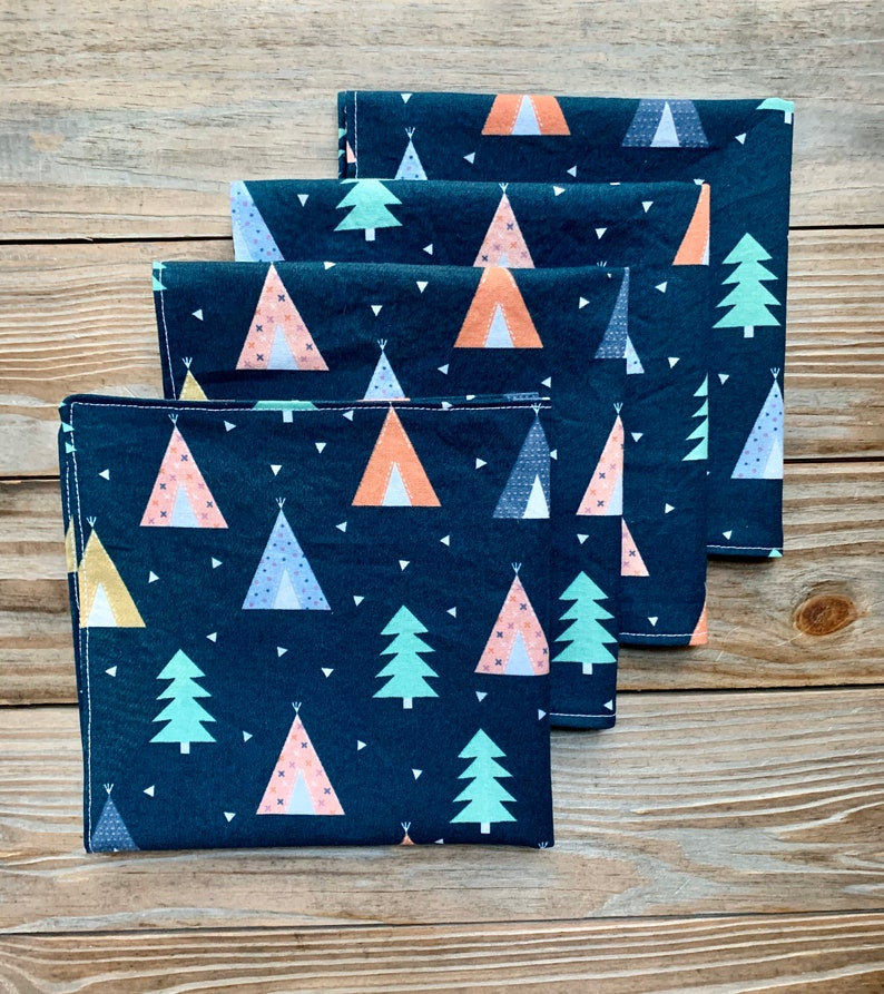 Trees Tents Napkins Dinner Reversible set of 4 image 0