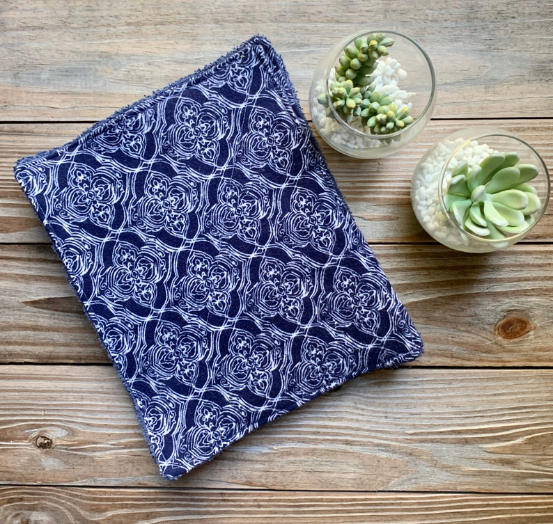 Unpaper Towels Reusable Flannel Navy Boho Cleaning small Set image 0