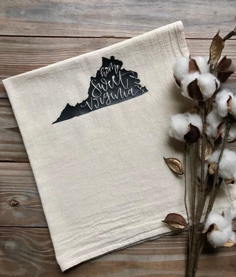 Tea Towel  Home Sweet Virginia  State Feed Sack image 0