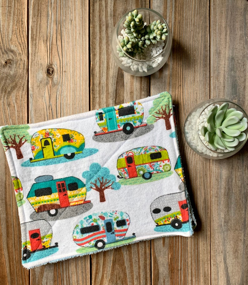 Cloth Unpaper Towels Camper  Reusable Flannel Wipes Set of 4 image 0