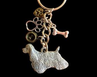 Cocker Spaniel Pewter Keychain Dog Keyring
