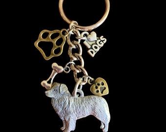Border Collie Pewter Keychain Dog Keyring