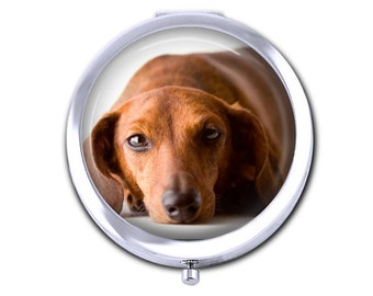 Your Dachshund Dog's Photo on a Compact Mirror