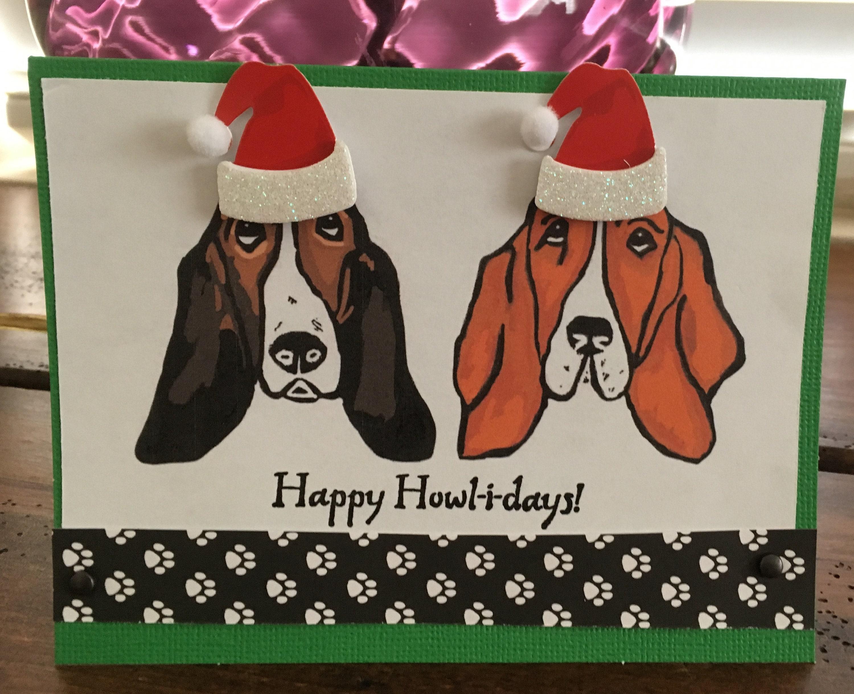 Basset Hound Christmas Holiday Cards Set of 4 | Etsy