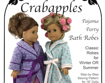 """Bathrobe and Slippers -PDF Pattern - 18"""" dolls - Instant Download - Pajamas - Doll Robe - Bedtime - Sleepwear - Nightgown - Pajama Party"""