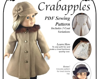 Classic Lined Coat - 18 inch Doll - Traditional Cloche Hat -  Classy Doll Clothes - Vintage Inspired -Tailored Wool - PDF Pattern - camel