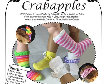 Crabapples Sock It To Me Doll Clothes Pattern for popular 18 inch and Other Multiple Sized Dolls - PDF Instant Download