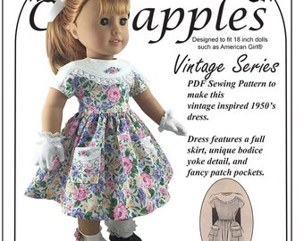 Retro 1950's - PDF Pattern- fits 18 inch dolls -  Vintage Inspired - Historical - Instant Download -  Fifties Favorite