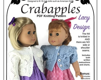 "Frilled Cardigan PDF Knitting pattern to fit popular 18"" dolls"