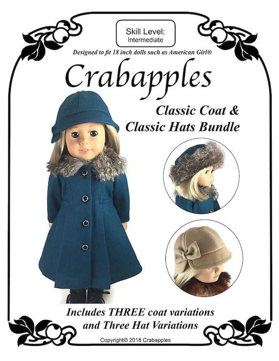 51b3b622794 Classic Doll Coat Cloche Hat PDF Pattern 18 inch Doll