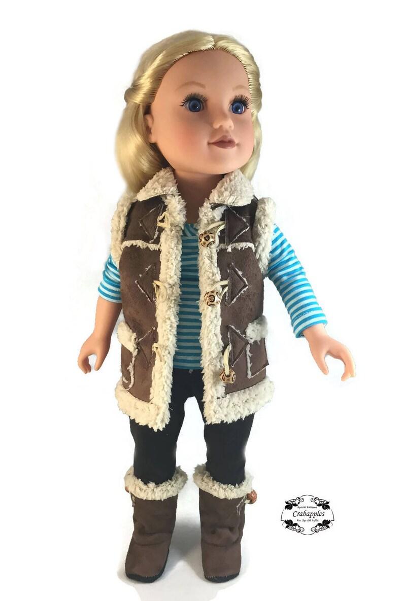PDF Pattern Camping Sherpa Hat 18 inch doll Outerwear Journey Girl Sherpa Suede Sherpa Vest Fleece Lined Sherpa Boots