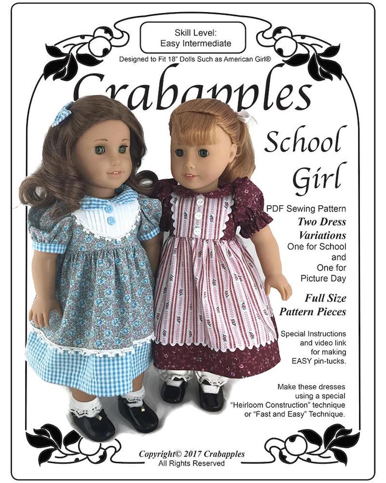 214761ff3c6 School Girl Doll Dress Pattern for 18 Doll Such as