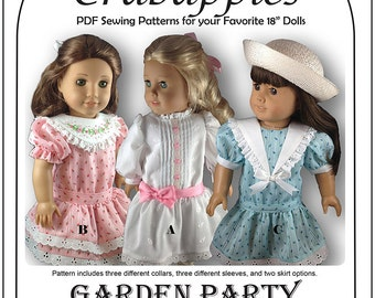 """Garden Party Doll Dress -18"""" dolls  - PDF Instant Download - Drop Waist - Embroidery - Sailor Collar - Ruffle - Vintage Inspired"""