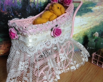 Dollhouse Miniature Shabby Chic Pink Baby Carriage, Buggy, Stroller, Pram