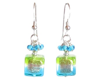 Murano Glass Aqua and Lime Green Cube Earrings, Sterling Silver Leverbacks, Murano Jewelry, Lampwork Glass Jewelry, Clip on Earrings
