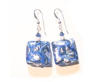 Murano Glass Cobalt Blue Silver Chunky Square Earrings, Sterling Silver Leverbacks, Venetian Italian Jewelry, Lampwork Glass Earrings