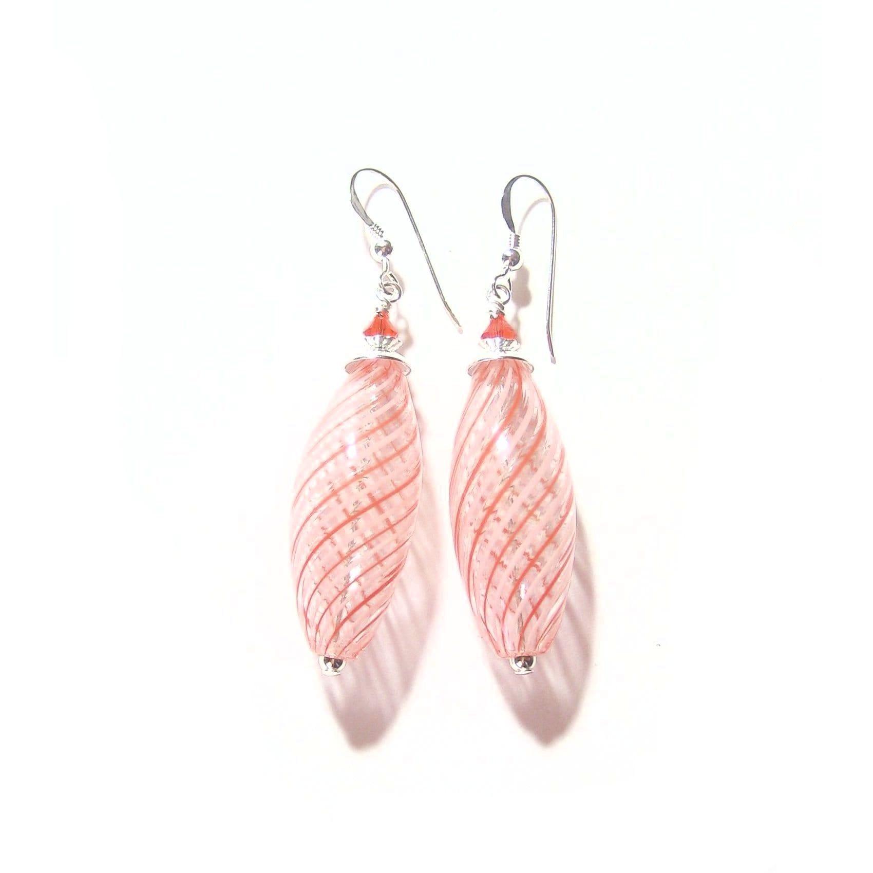Hooks In Display Gift Box Long Beautiful Murano Glass Earrings 3.5 Cm