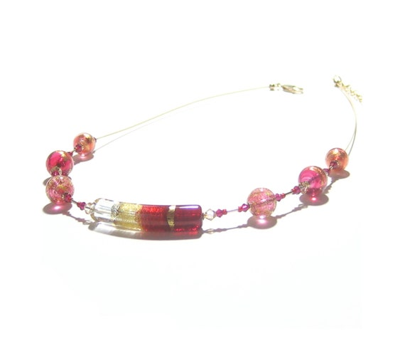 d722c2fb419c Murano Glass Ruby Red Pink Gold Curved Tube Necklace Venetian