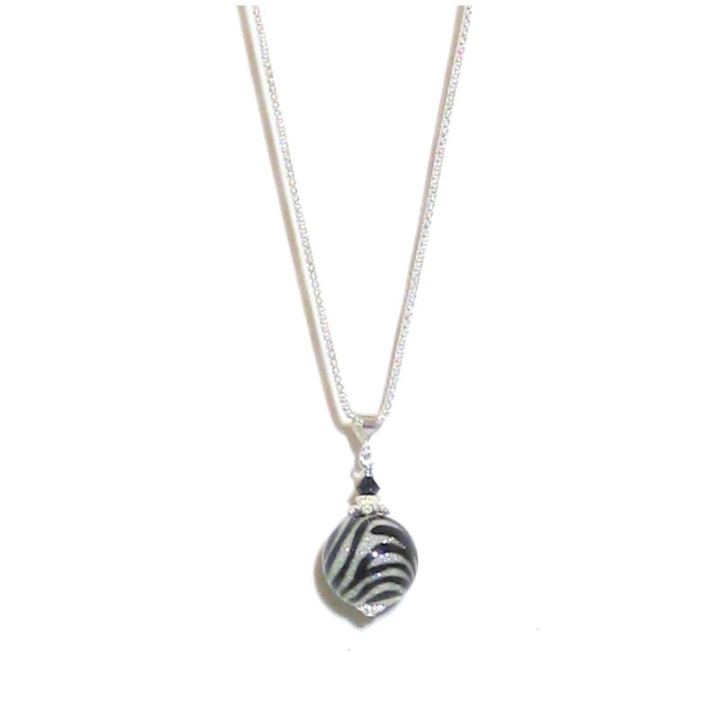 f896bd2c40a Murano Glass Black Zebra Sparkle Ball Pendant Necklace, Sterling Silver  Chain, Venetian Jewelry, Italian Jewelry, Gift For Her, Christmas