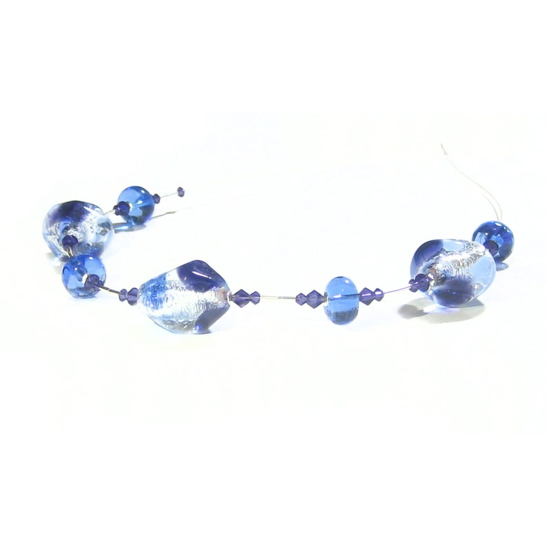 Venetian Necklace Murano Glass Blue Plum Sterling Silver Necklace Artisan Lampwork Glass Necklace Gift For Mom Italian Jewelry
