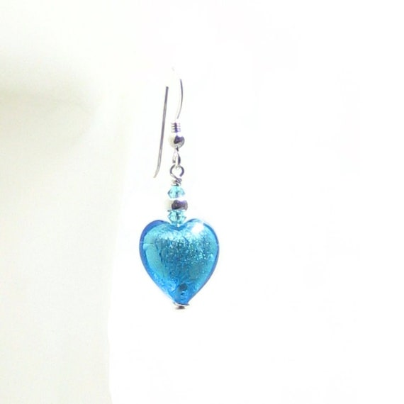 Short Heart Earrings in turquoise aqua glass sterling silver