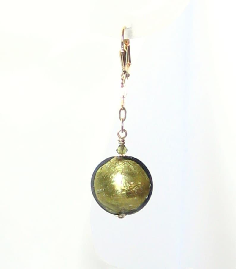 Clip On Earrings Murano Glass Olive Disc Dangle Gold Earrings Gift For Mom Venetian Italian Glass Jewelry Non pierced earrings