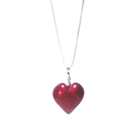 ee30d0095d91 Red Heart Murano Glass Sterling Silver Pendant Necklace