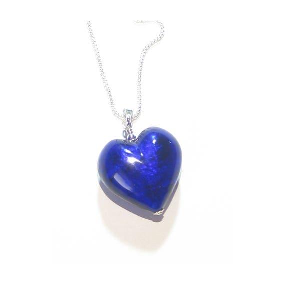 Cobalt Blue Heart Pendant Murano Glass Necklace Sterling  d54000fb2b17