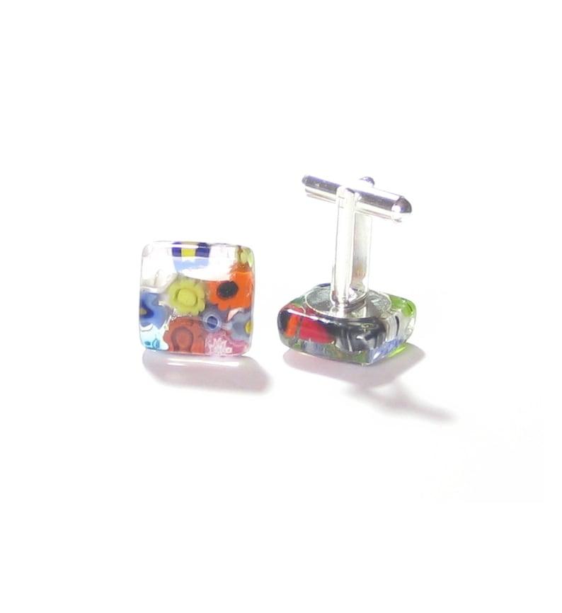Italian Glass Jewelry For Men Murano Glass Millefiori Colorful Square Cuff Links Tie Accessories Christmas gift Venetian Cuff Links