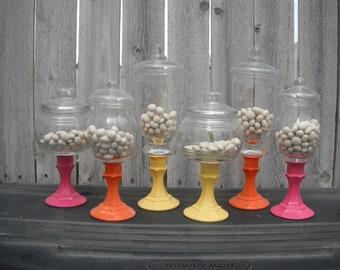 6 PEDESTAL APOTHECARY JARS  - candy bar wedding - birthday - party
