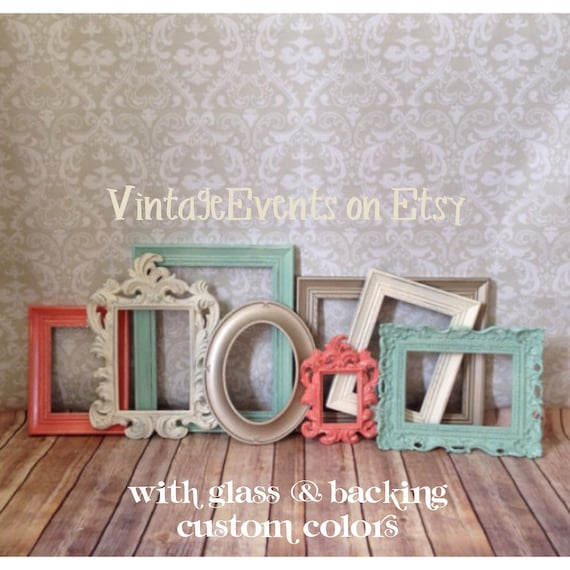 Mint coral PICTURE FRAMEs vintage style shabby chic
