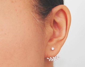 Leaf Ear Jackets. Silver Laurel Earrings. Twig Ear Jackets. Silver Leaf Earring. Sterling Silver. Dainty Ear Jacket. Small Leaf. Dainty Twig